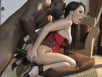 Skinny brunette Sandra Luberc wants a black cock in her tight ass