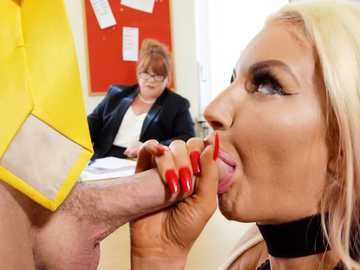 Nicolette Shea keeps daydreaming in the office with balls licking on mind