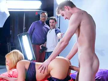 Nasty blondie Krissy Lynn in sexy violet bra gets her pussy pounded in doggystyle