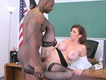 Interracial pussy fucking on the table purifies the guilty teacher Sarah Jay