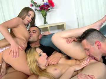Gentle Russian models Alessandra Jane and Cherry Bright take part in fiery foursome