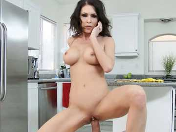 Stunning brunette Jessica Jaymes gets hardcore pussy fucking in the kitchen