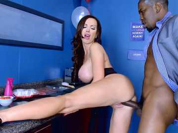 Black cock lover Nikki Benz entices her lover with soaked cunny
