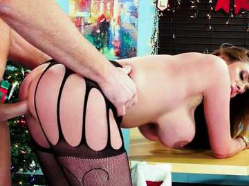 Busty boss Ariella Ferrera gets Christmas pussy fucking from angry employer