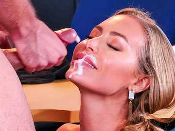 Desperately horny boss Nicole Aniston seduces employee for pussy fucking